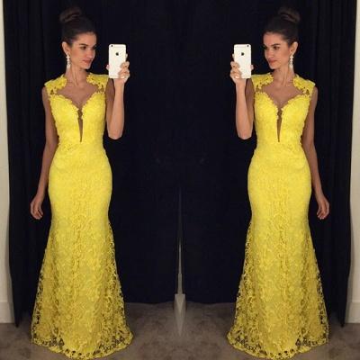 Delicate Yellow Lace Prom Dress UK Mermaid Sweep Train AP0 BA8255_3