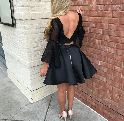 Luxury Black Long Sleeve Lace Homecoming Dress UK Two Pieces Online BA7015_3