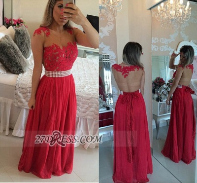 Sexy Chiffon Long Red Prom Dress UK With Pearls And Lace Appliques BT0_2