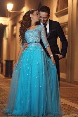 Beautiful Half-Sleeve Tulle Evening Dress UK Lace Appliques_1