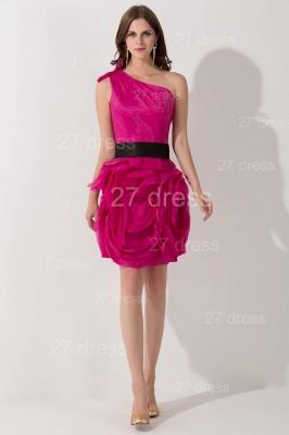 Modern One Shoulder Short Cocktail Dress UK Flowers Knee-length_1