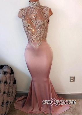 Lace-Appliques Mermaid Modest Sleeveless High-Neck Prom Dress UK PT201_1