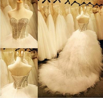 Newest Crystals Ruffles Wedding Dress Sweetheart Sleeveless Lace-up_5