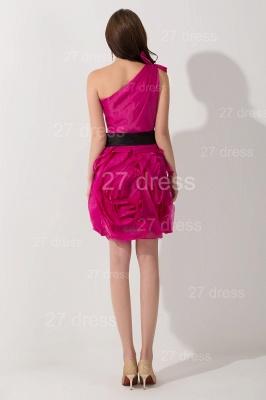 Modern One Shoulder Short Cocktail Dress UK Flowers Knee-length_4