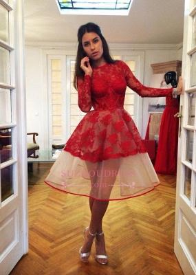 Long-Sleeve Popular Charming Red Sheer Lace Appliques Homecoming Dress UKes UK BA7239_1