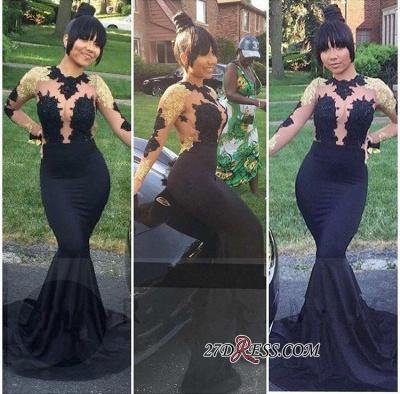 Black Lace-Appliques Long-Sleeve Gold Elegant Mermaid Prom Dress UK BA5034 BK0_1