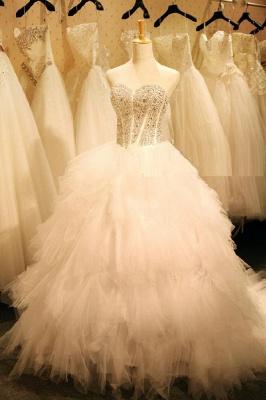 Newest Crystals Ruffles Wedding Dress Sweetheart Sleeveless Lace-up_2