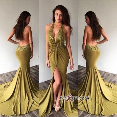 Appliques Side-Slit Backless Deep-V-Neck Halter Elegant Prom Dress UKes UK_1