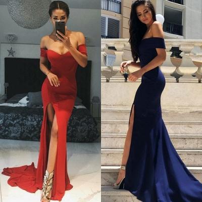 Luxury Short-Sleeve 2019 Evening Dress UK | Mermaid Prom Dress UK With Slit_4