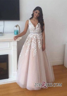 V-Neck Appliques Lace Luxury Tulle Prom Dress UK BA4883_2