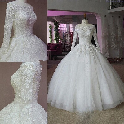 Elegant Lace Appliques Ball Gown Wedding Dress Long Sleeve_3