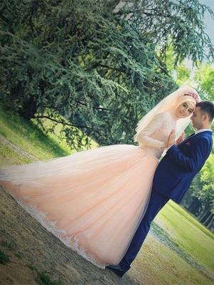 Romantic Long Sleeve Tulle Lace Arabian Wedding Dress Sweep Train_1