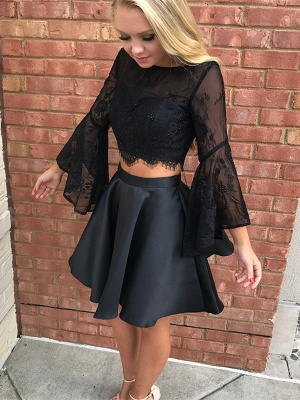 Luxury Black Long Sleeve Lace Homecoming Dress UK Two Pieces Online BA7015_1