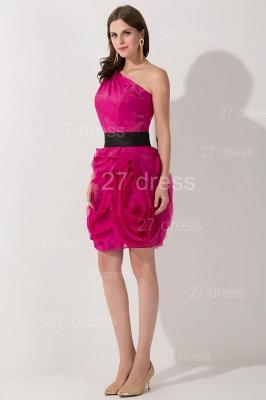 Modern One Shoulder Short Cocktail Dress UK Flowers Knee-length_3