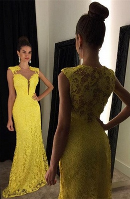 Delicate Yellow Lace Prom Dress UK Mermaid Sweep Train AP0 BA8255_1