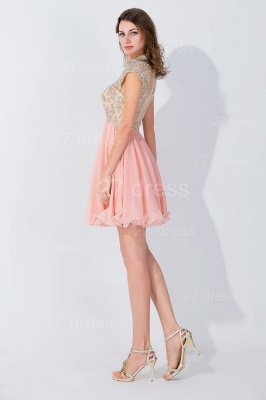 Modern High Neck Cap Sleeve Chiffon Homecoming Dress UK With Appliques Beadings_3