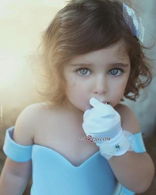 Lovely Bow Simple Blue Off-the-Sholder Flower-Girls Dresses BA7114