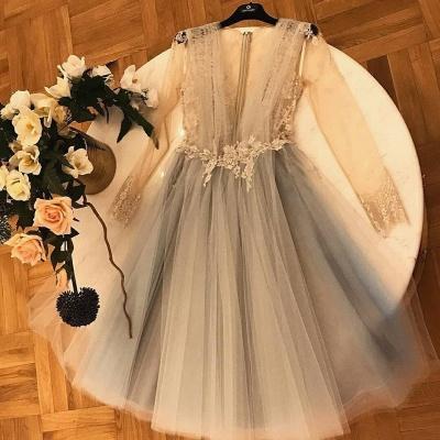 Chic A-Line Tulle Homecoming Dress UKes UK   V-Neck Long Sleeves Lace Applique Cocktail Dress UKes UK_3