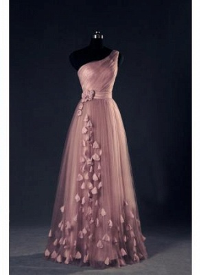 One Shoulder A Line EveningDress UKes UK Flower Appliques Lace-up Sexy Prom Gowns_1