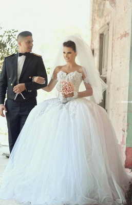 Delicate Off-the-shoulder Tulle Wedding Dress Lace Appliques Ball Gown_4