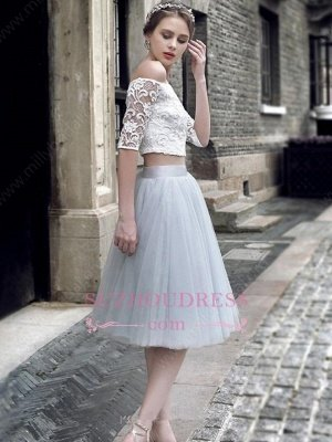 Off-the-Shoulder Elegant Knee-Length Tulle Lace Homecoming Dress UK_1