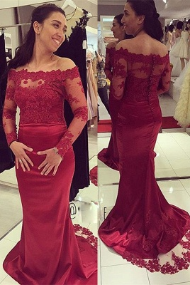 Luxury Long Sleeve Lace Appliques Evening Dress UK Long Mermaid Zipper Button Back_1
