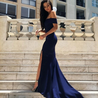 Luxury Short-Sleeve 2019 Evening Dress UK | Mermaid Prom Dress UK With Slit_3
