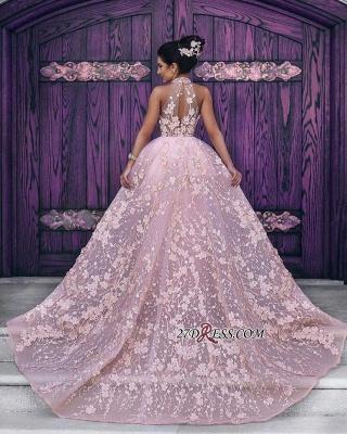 Sleeveless Gorgeous Lace-Appliques Halter Pink Evening Dress UK_3