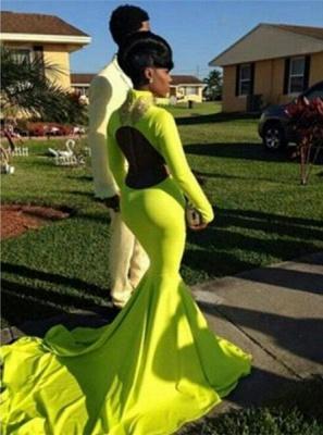 Luxury Long Sleeve High-Neck Keyhole Prom Dress UKes UK Mermaid Yellow Long_3