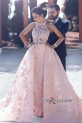 Sleeveless Gorgeous Lace-Appliques Halter Pink Evening Dress UK_4