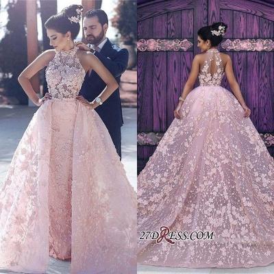 Sleeveless Gorgeous Lace-Appliques Halter Pink Evening Dress UK_1