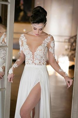 Elegant Long Sleeve Appliques Wedding Dress  With Front SPlit_6