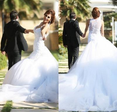 Delicate V-neck Sexy Mermaid Tulle Wedding Dress Long Train_2