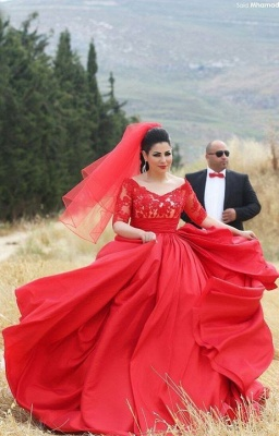 Modern Half Sleeve Red Wedding Dress Lace Sweep Train_1