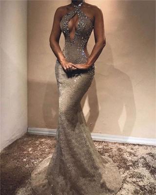 Newest Halter Sleeveless Lace Crystals Evening Dress UK   Luxury Evening Dress UK_1
