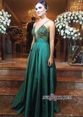 Green Zipper Long Spaghetti-Straps Elegant Beadings Evening Dress UK BA3837_1