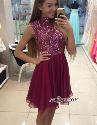 Mini High-Collar Crystal Beading Cute Sleeveless Homecoming Dress UKes UK BA3852_3