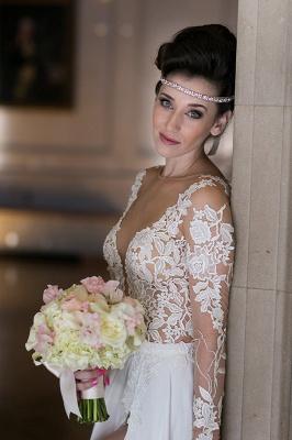 Elegant Long Sleeve Appliques Wedding Dress  With Front SPlit_3