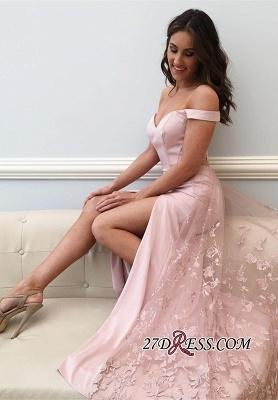 Off-the-Shoulder prom Dress UK,pink evening party Dress UK with slit_2