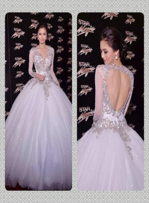 New Arrival Backless Lace Ball Gowns Wedding Dresses UK Sheer Cheap  V-Neck Long Sleeves Floor Length Bridal Gowns With Appliques_6