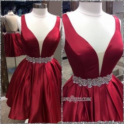 Short Sheer-Back Burgundy Deep-V-Neck Backless Homecoming Dress UKes UK BA6971_1
