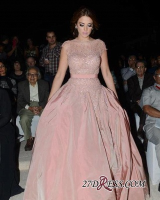 Pink Cap-Sleeve Charming Designer Diamonds Evening Dress UK_3