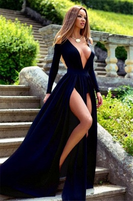 Elegant Long Sleeve Deep V-Neck Prom Dress UK Slit Party Gowns BA3599_1