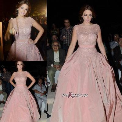 Pink Cap-Sleeve Charming Designer Diamonds Evening Dress UK_2