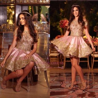 Gold Lovely Appliques Short Lace Pink Off-The-Shoulder Homecoming Dress UK BA6543_1