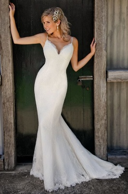 Chic Spaghetti Straps Sleeveless White Wedding Dress Sexy Mermaid Lace_1