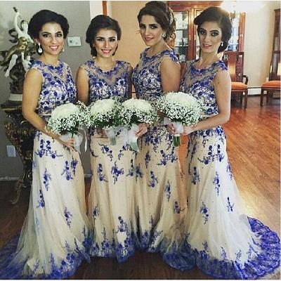 Newest Lace Appliques Illusion Bridesmaid Dress UK Sweep Train_3