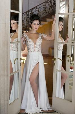 Elegant Long Sleeve Appliques Wedding Dress  With Front SPlit_1