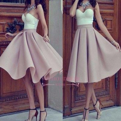 Short Hot Sleeveless Strap Sweetheart Sweetheart A-line Homecoming Dress UK_1