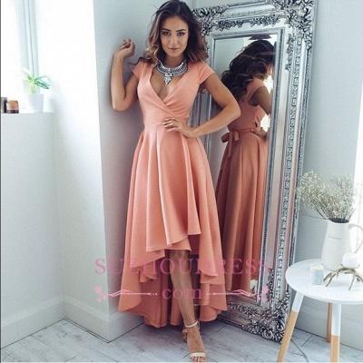 Short-Sleeves Elegant Hi-Lo A-Line V-Neck Prom Dress UKes UK qq0321_1